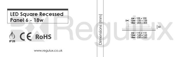 DLSQ. LED Square Recessed Panel. Dimensions