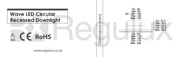 DLW. Wave LED Circular Downlights 7-25w. Dimensions