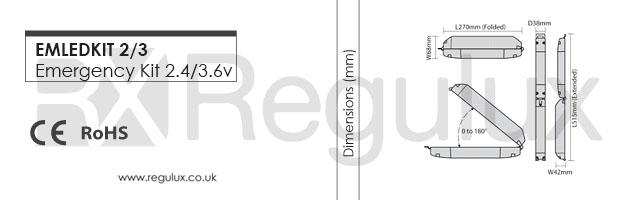 EMLEDKIT 2/3. LED Emergency Module Kit. Dimensions