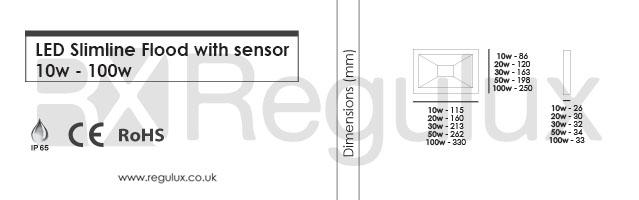 FL-S. LED Slim-line Sensor Flood 10 - 100w. Dimen