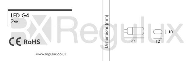 G4. 2w LED G4 Lamp Dimensions