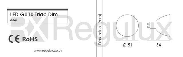LGD5. 5w LED GU10 Triac Dimmable lamp dimensions