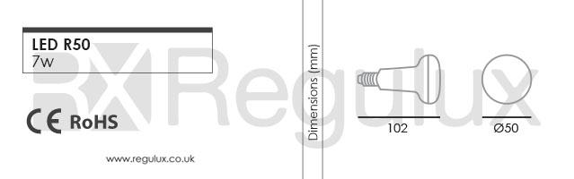 R50. 7w LED E14 R50 Lamp Dimensions