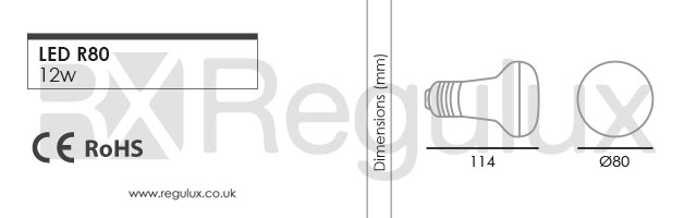 R80. 12w LED E27 R80 Lamp Dimensions