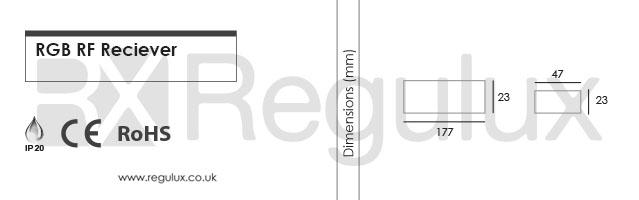RX-RGB-REC. RGB RF Receiver Dimensions