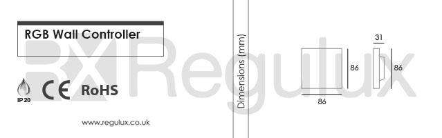 RX-RGB-W/C. RGB Wall Mounted Controller Dimensions