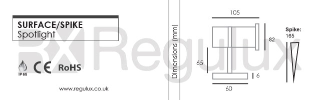Dimensions - ALIEN Spotlight - Inground Spike or Surface Mount 19 LEDs Spotlight