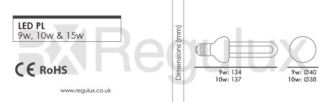 B5T3. PL LED. 9w, 10w & 15w. E27 Dimensions