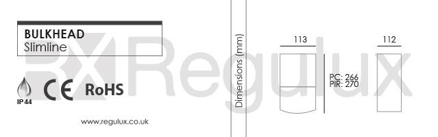 BH-RC-LED - Rectangular LED Bulkhead. 230v with Sensor Dimensions