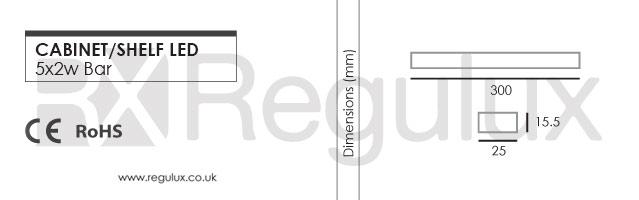 Cabinet LED Strip Bar 5x2w Dimensions
