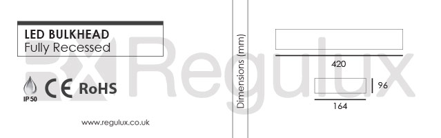 EMBH-LED-FR. LED Emergency Bulkhead. Fully Recessed. Maintained. Dimensions