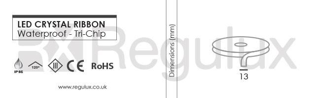 Flexible Ribbon LED Strip Waterproof Tri-Chip Dimensions