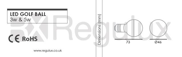 GL. LED GOLF BALL 3w. 5w. E14. E27 Dimensions