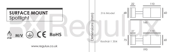 KESTRAL - Adjustable Wall Spotlight Specification and Dimensions