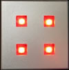 LED Plinth Light Brushed Chrome 4 LEDs Red
