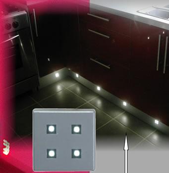 CARO/W - LED Plinth Light Brushed Chrome 4 LEDs White