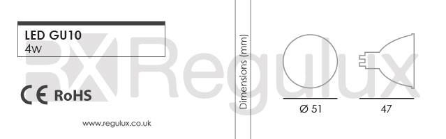 LG4. 4w LED GU10 Dimensions