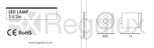 LS5x2. 5x2w 240v LED Lamp. MR16 & GU10 Dimensions