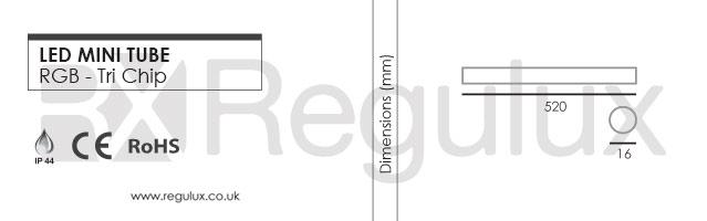 LED Tube. TriChip. 24v. RGB Dimensions