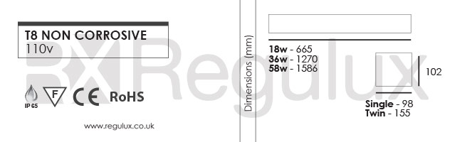 T8 Non Corrosive - 110V. 3Hr Emergency Dimensions