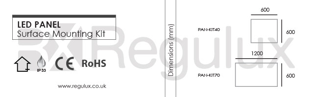 LED Panel Surface Mounting Kit Dimensions
