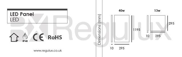 PANR-40/13w. LED Panel. Dimensions