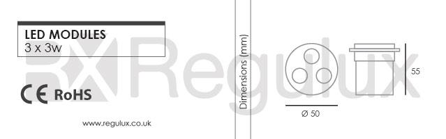 RX6001. 3x3w LED Module Dimensions