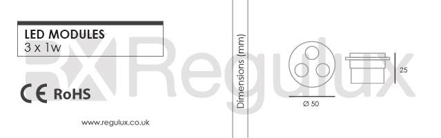 RX6002 led flood 3x1w Dimensions