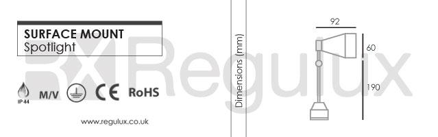 SIGNSPOT - Surface Mount Spotlight Dimensions - Regulux Lighting