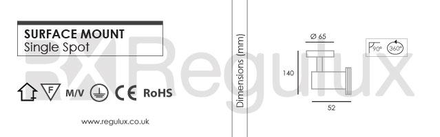 SMGZ10 - Surface Mount Single Spot 50W Max GU10 Dimensions