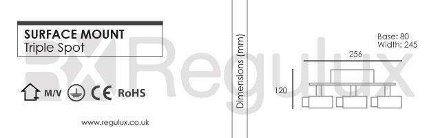 Stingray3 – Diecast Triple Spotlight with Glass Shade