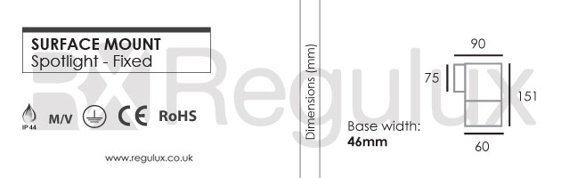 Terrier Surface Mount Fixed Spotlight Dimensions and Specification